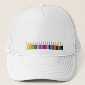 Colored pencils in a row trucker hat
