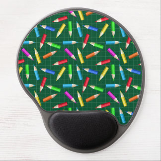 Colored Pencils on Green Grid Gel Mouse Pad