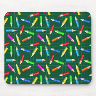 Colored Pencils on Green Grid Mouse Pad