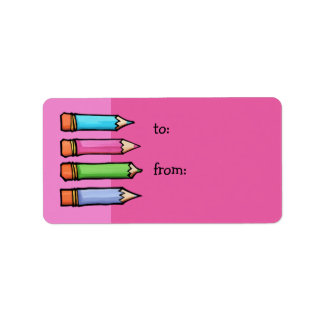 Colored Pencils pink Gift Tag Address Label