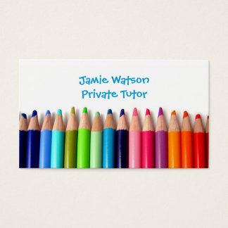 Colored Pencils Tutor Teacher Business Card