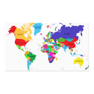 Colored Political World Map Canvas Print