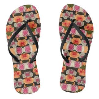 Colored Roses Pattern Flip Flops