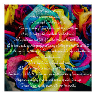 Colored Roses with Poem Poster