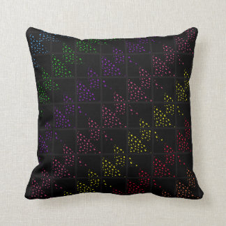 Colored Spotted Triangles Black Pillows