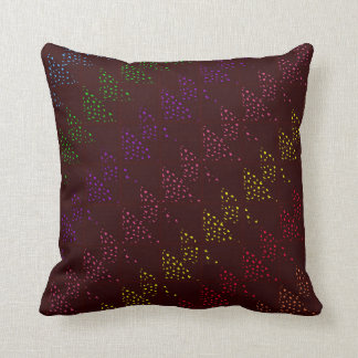 Colored Spotted Triangles Maroon Pillows
