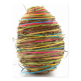 Colored Straw Easter Eggs Over White Postcard