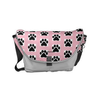 Colored Tile Paw Print Pattern Messenger Bag