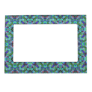 Colored triangle mosaic picture frame magnet
