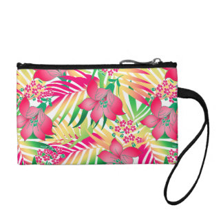 Colored tropical flowers coin purse