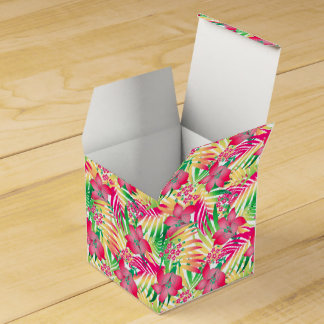 Colored tropical flowers favour box
