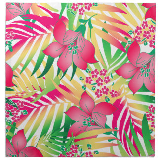 Colored tropical flowers napkin