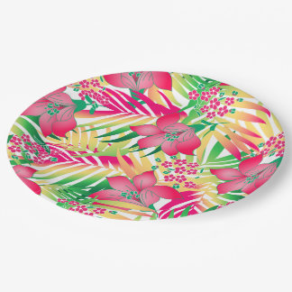 Colored tropical flowers paper plate