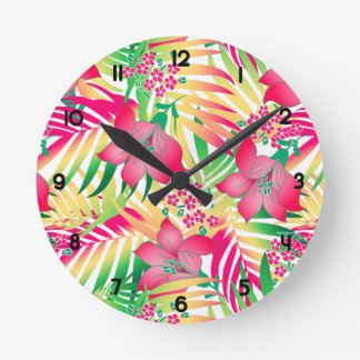 Colored tropical flowers round clock
