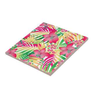 Colored tropical flowers tile