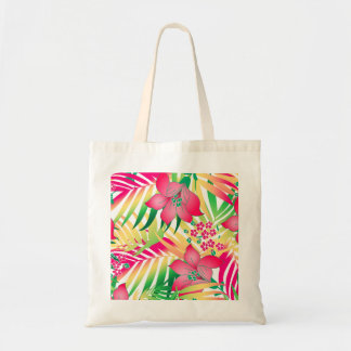 Colored tropical flowers tote bag