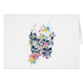 colored vintage skulls card