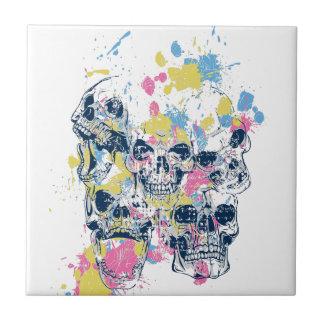 colored vintage skulls ceramic tile