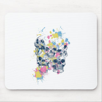 colored vintage skulls mouse pad