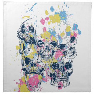 colored vintage skulls napkin
