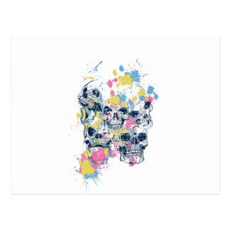 colored vintage skulls postcard