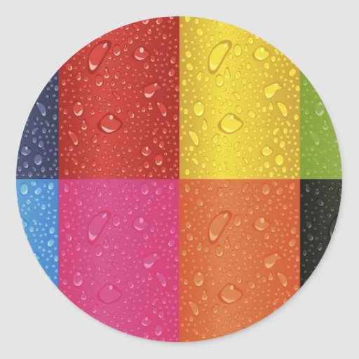 Colored Water Droplets Sticker