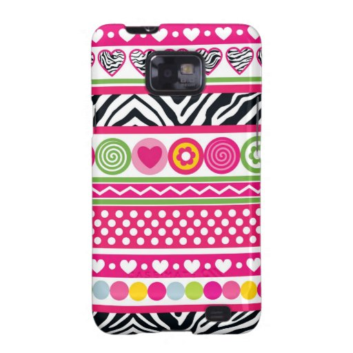 Colorf zebra hearts BlackBerry Samsung Galaxy Case Galaxy SII Covers