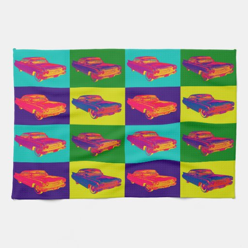 Colorful 1960 Cadillac Luxury Car Pop Art Kitchen Towels
