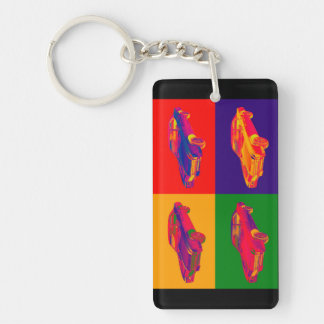Colorful 1967 Buick Riviera Car Pop Art Double-Sided Rectangular Acrylic Key Ring