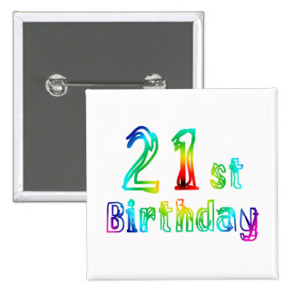 Colorful 21st Birthday Gifts 15 Cm Square Badge
