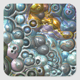 Colorful 3D Clusters Square Sticker