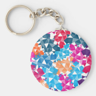 Colorful 3D geometric Shapes Basic Round Button Key Ring