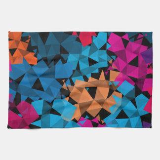 Colorful 3D geometric Shapes Tea Towel