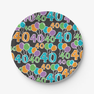 Colorful 40th Birthday Paper Plate 7 Inch Paper Plate