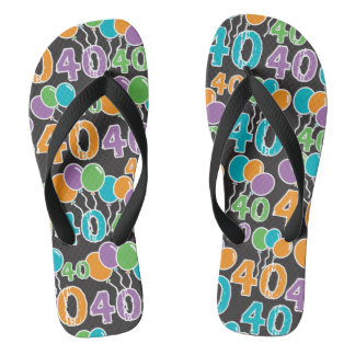 Colorful 40th Birthday Thongs