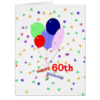 Colorful 60th Birthday Balloons Card