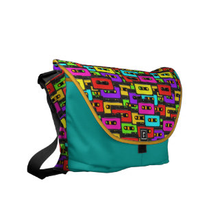 Colorful 80s analoge audio tapes messenger bags