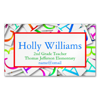 Colorful ABC Teacher Educator Business Card Magnetic Business Cards