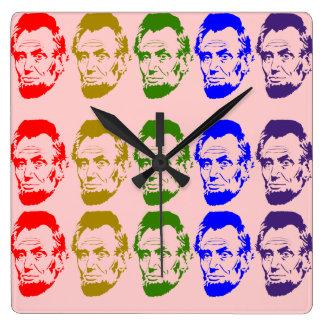 Colorful Abe Lincoln Wall Clock Peach