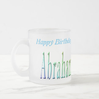 Colorful Abraham Boys Name Logo, Frosted Glass Coffee Mug