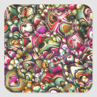 Colorful Abstract 3D Shapes Square Sticker