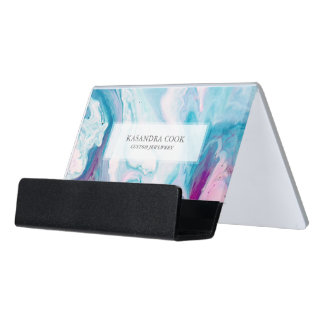Colorful Abstract Agate Stone Desk Business Card Holder