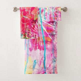Colorful Abstract Aqua Fun Artistic Paint Splatter Bath Towel Set