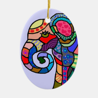 Colorful abstract artistic elephant head ceramic ornament