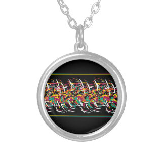 Colorful abstract barbwire silver plated necklace
