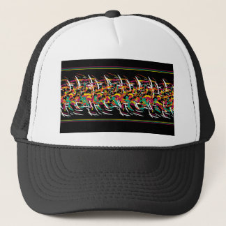Colorful abstract barbwire trucker hat