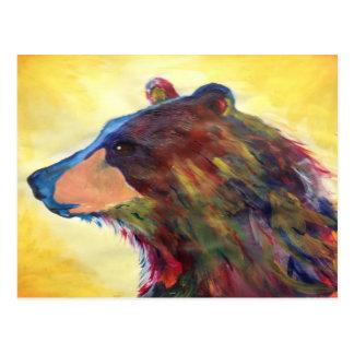 Colorful Abstract Bear Art Postcard