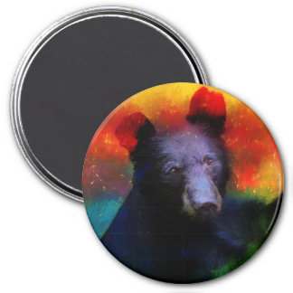 Colorful Abstract Black Bear Painting 7.5 Cm Round Magnet