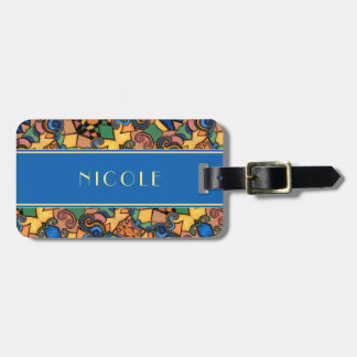 Colorful Abstract Border With Blue & Yellow Custom Luggage Tag