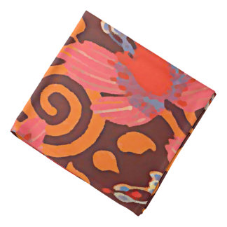 Colorful Abstract Brown Twirls Pink Butterflies Bandana